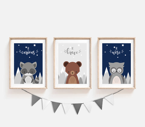 Set of 3 Woodland Animals in Mountains Prints