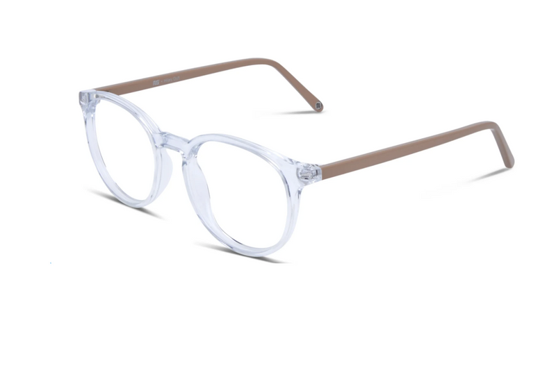 clear round womens glasses beige sides