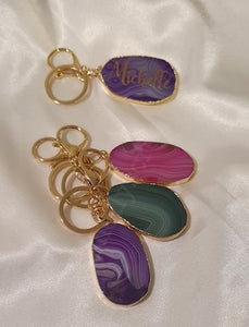 Agate Slice Key Ring