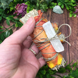 Orange Rose Blue Sage Bundle with Selenite