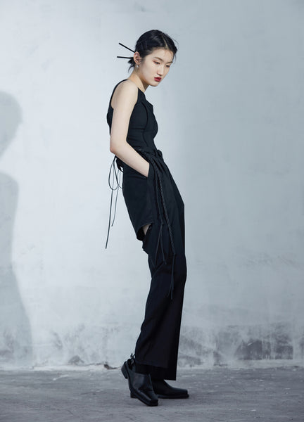 Wide Leg Trousers With Back Opening