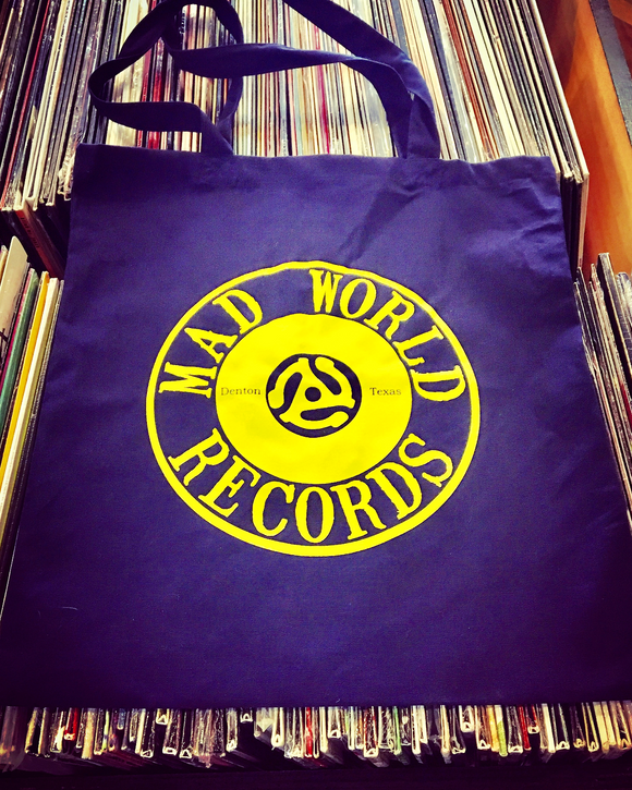 Mad World Records Tote Bag (Yellow on Navy)