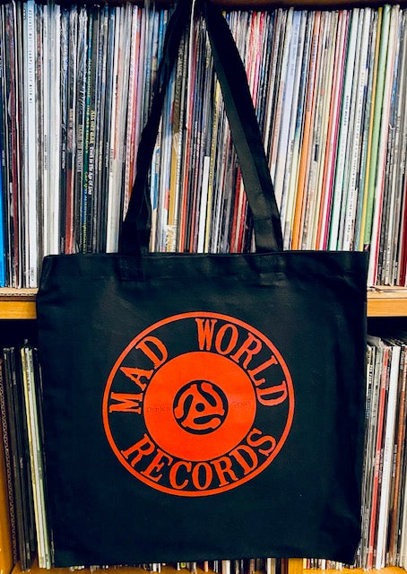 Mad World Records Tote Bag (Red on Black)