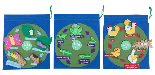 Life Cycle Science Felt Kit - Butterfly, Chicken and Frog
