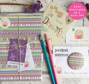 Stationery set of notebook, pencils, pocket mirror & postcard