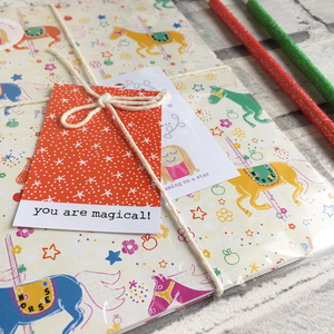 Whimsical notebook in cute packaging with 2 pencils