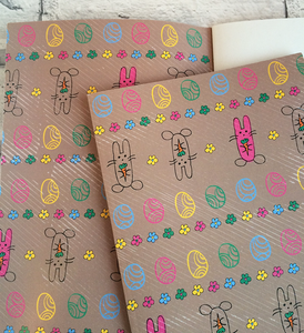 Notebook with Easter Bunnies illustration