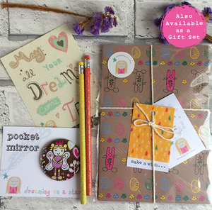 Stationery set with notebook, pocket mirror, pencils & postcard