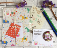 Load image into Gallery viewer, 'Carousel Horses' Stationery set - notebook, mirror, pencils, postcard
