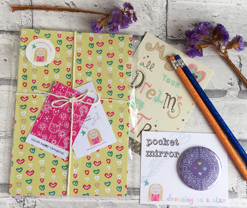 'Hearts' Stationery Gift Set - notebook, mirror, pencils & postcard