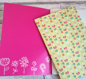 Notebook with hearts & flowers pattern design