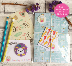 Stationery set with notebook, magnet, pencils & postcard