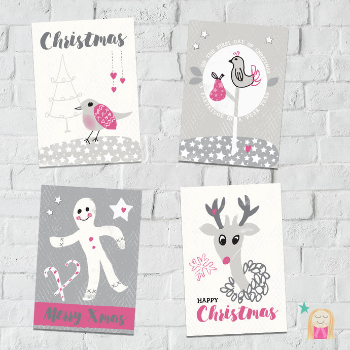 Set of coordinating Christmas cards