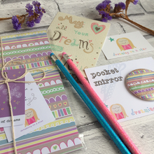 Load image into Gallery viewer, 'Butterfly Lines' Stationery set - notebook, mirror, pencils, postcard