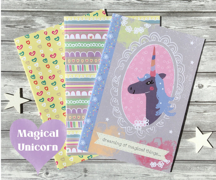 Magical Unicorn set - Set of 3 pretty notebooks