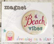 Load image into Gallery viewer, 'Beach Vibes' illustrated 58mm magnet in cute packaging