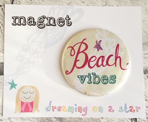 'Beach Vibes' illustrated 58mm magnet in cute packaging