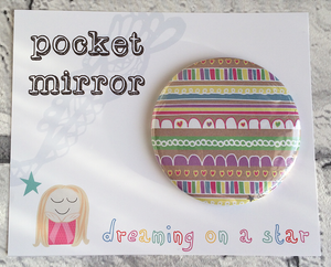 Pretty illustrated pocket mirror in cute packaging