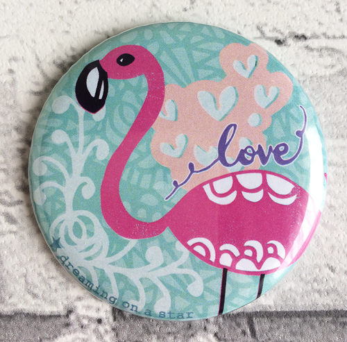 Flamingo illustration pocket mirror