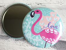 Load image into Gallery viewer, Flamingo illustration pocket mirror