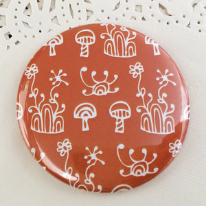 Orange floral illustrated 58mm magnet
