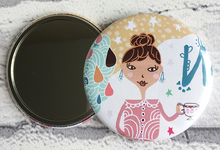Load image into Gallery viewer, Whimsical girl illustration pocket mirror