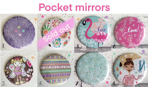Illustrated 58mm pretty pocket mirrors