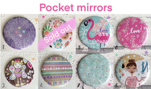 Load image into Gallery viewer, Illustrated 58mm pretty pocket mirrors