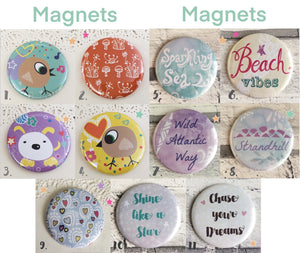 Illustrated 58mm pretty magnets