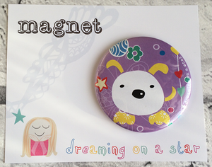 Purple dog kawaii illustrated 58mm magnet In cute packaging