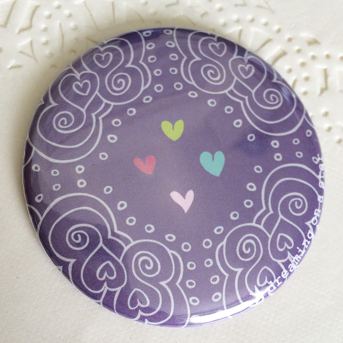 Pretty Illustrated 58mm Pocket Mirror