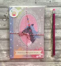Load image into Gallery viewer, 'Magical Unicorn' A5 illustrated notebook & 2 glitter pencils