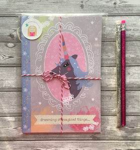 'Magical Unicorn' A5 illustrated notebook & 2 glitter pencils