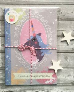'Magical Unicorn' A5 illustrated notebook in pretty packaging