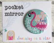 Load image into Gallery viewer, Flamingo illustration pocket mirror in cute packaging