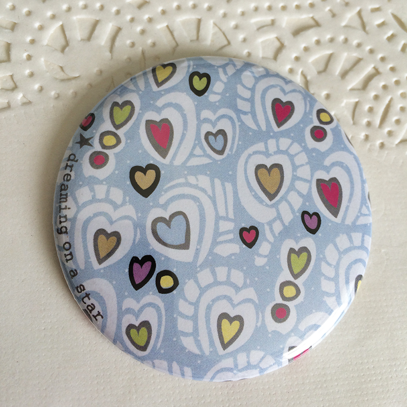 Hearts illustrated 58mm magnet