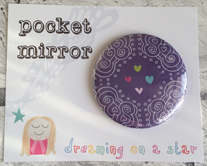 Pretty Illustrated 58mm Pocket Mirror In cute packaging