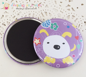 Purple dog cute illustrated 58mm magnet