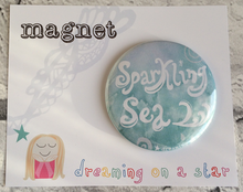 Load image into Gallery viewer, Sparkling Sea illustrated 58mm magnet in cute packaging