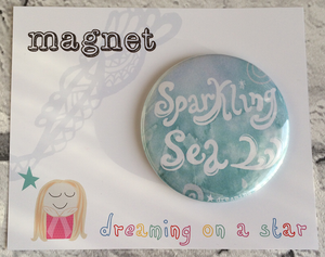 Sparkling Sea illustrated 58mm magnet in cute packaging