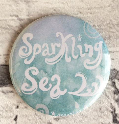 Sparking Sea illustrated 58mm magnet