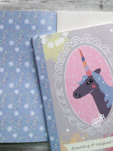 Load image into Gallery viewer, 'Magical Unicorn' A5 illustrated notebook