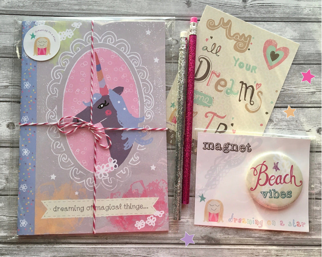 'Magical Unicorn' Stationery set - notebook, magnet, pencils, postcard