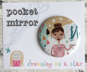 Whimsical girl illustration pocket mirror in cute packaging