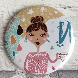 Whimsical girl illustration pocket mirror