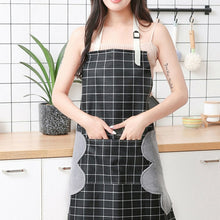 Load image into Gallery viewer, Women Men Unisex Apron With Pocket Chef Kitchen Cooking Cotton  Oil-Proof  Waterproof Wipeable Plaid Stripes