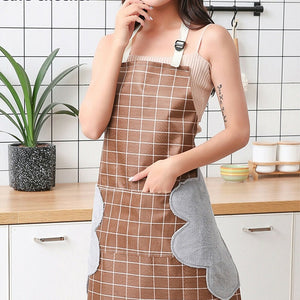 Women Men Unisex Apron With Pocket Chef Kitchen Cooking Cotton  Oil-Proof  Waterproof Wipeable Plaid Stripes