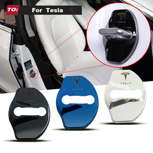 3D Car Door Lock Buckle cover Car stickers Chrome Looking For Tesla Model 3 and Model X