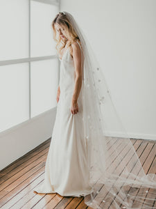 Daisy Spray Cathedral Length Drop Veil