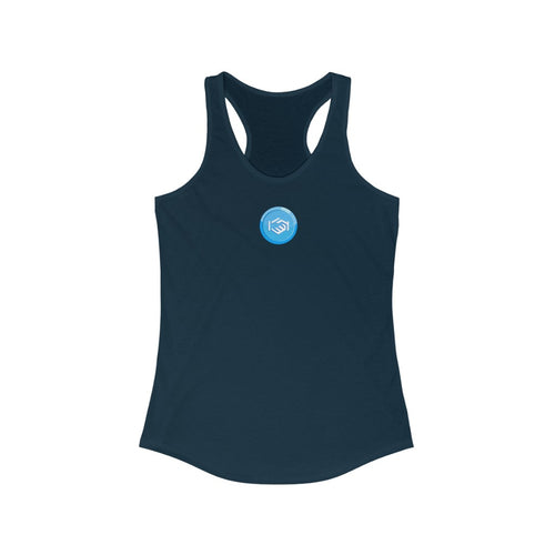 Women's Slim Fit Racerback Tank with Small Permission Logo